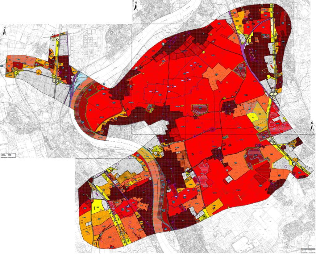 Karte mit den Ergebnissen der Umweltverträglichkeitsstudie. Nahezu die gesamte Fläche ist rot oder sogar dunkelrot markiert.
